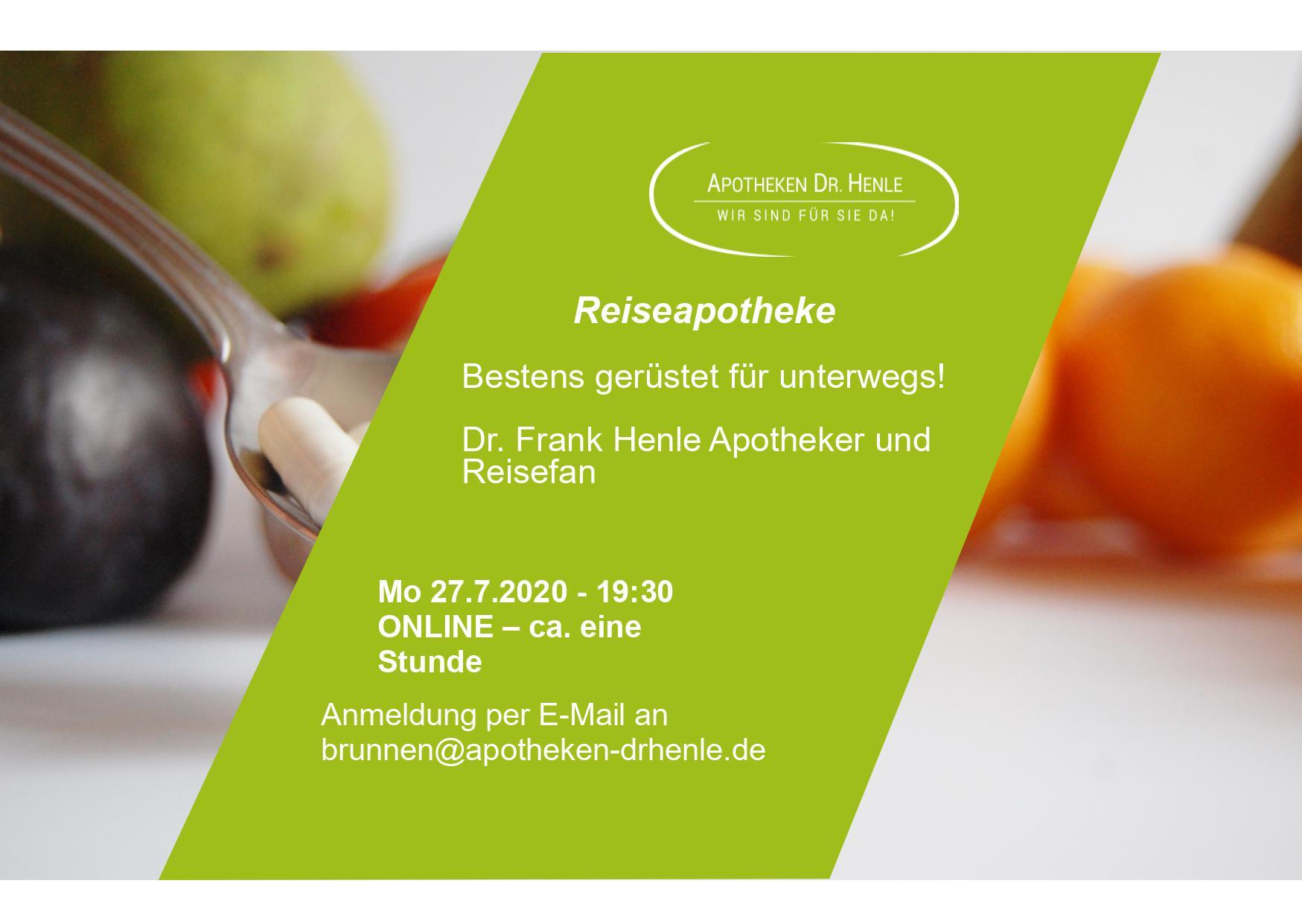 Webinar Reiseapotheke Flyer